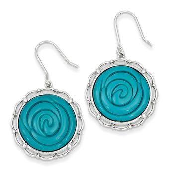 Sterling Silver Synthetic Turquoise Dangle Earrings
