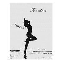 Freedom artistic nude girl at beach shapes card