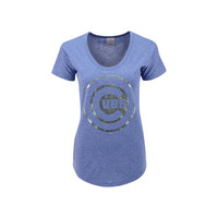Chicago Cubs MLB Women's Mocktwist Baby Jersey Scoop Neck T-Shirt