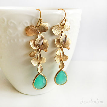 Gold Bridal Earrings, Aqua, Seafoam, Wedding Jewelry, Orchid Chain, Statement Long Dangle Flower Earrings, For the Bride