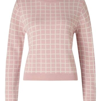 Pink Check Cropped Knit Jumper | Missselfridge