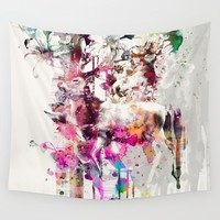 Deers and Flowers Wall Tapestry by RIZA PEKER