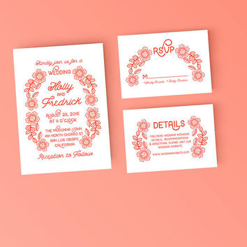 Printable Wedding Invitation Set - Modern Coral Floral Invite, RSVP Post Card - DIY Digital Ready to Print