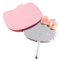 Hello Kitty Portable Creative Cosmetics Mirror Women Small Size Pinky Mirror with chain Gift to Women Lovely Pink Mirror