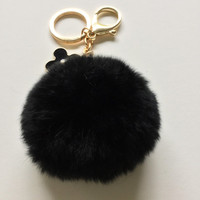 Black fur pom pom keychain REX Rabbit fur pompon ball with flower bag charm