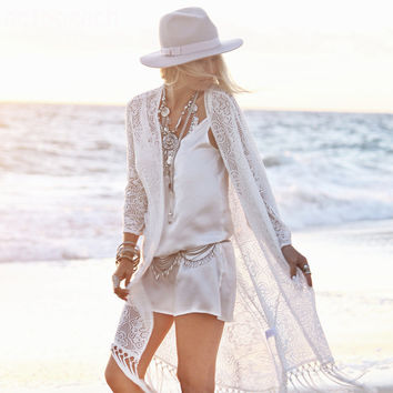 New Women Beach Cover Up Sexy White Lace Siamese Pants Hotsale Ladies Party Favor Beach Wear coverups