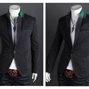 Style Men Balzer Black Slim Fit Blazer Suit Casual Single Button Men Blazer Suit On Big  SM6