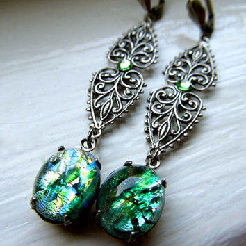 Opal Earrings Fire Opal Earrings Sterling Earrings Art Nouveau Earrings Green Opal Earrings Emerald Green Earrings- Emerald Opal