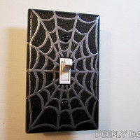 Spider Webbing Light Switch Plate - Black and Silver Webs Version By DeeplyDapper