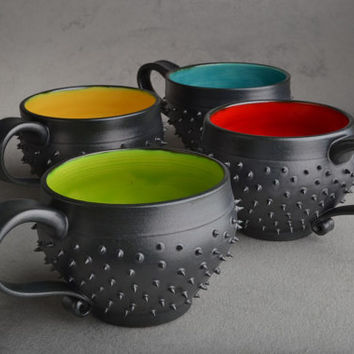Spiky Mugs Made To Order Set Of Four Black Dangerously Spiky Cocoa/Soup Mugs by Symmetrical Pottery