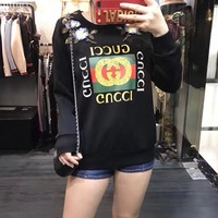 """Gucci"" Women Fashion Casual Flower Embroidery Letter Pattern Print Back Rivet Long Sleeve Sweater Tops"