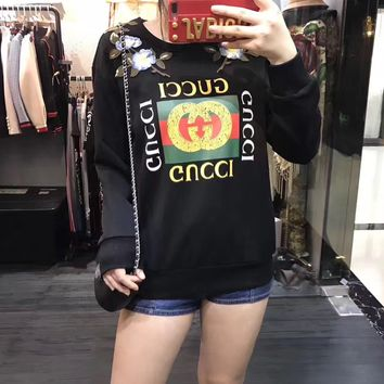 """""""Gucci"""" Women Fashion Casual Flower Embroidery Letter Pattern Print Back Rivet Long Sleeve Sweater Tops"""