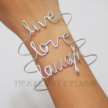 Handmade Set of 3 Live Love Laugh Wire Script SILVER Bangle Vintage DIY Jewelry Women Baby Bracelet Custom Orders Accepted