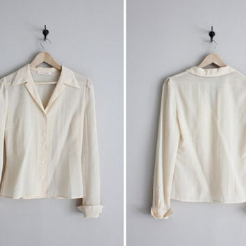 chloe shirt / 1970s Chloe blouse / designer collared blouse