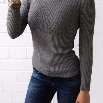 Grey Plain Band Collar Long Sleeve Casual Pullover Sweater