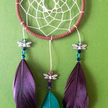 Dream Catcher - Dragonfly - Modern - Purple, Turquoise