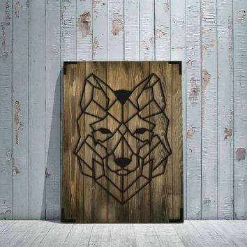 Wolf Face Wooden Wall Art