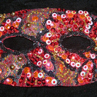 Red and Black Mask, Hand Beaded Handmade Mask, Upcycled Halloween Masquerade Mask, Sequin Mask, Diabolical and Spooky Mask, Free US Shipping