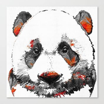 Panda Bear Art - Black White Red - By Sharon Cummings Canvas Print by Sharon Cummings