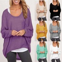 Batwing Loose Sleeves Polyester Women Fall Tops