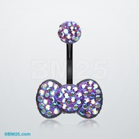 Blackline Tiffany Inspired Bow-Tie Multi Gem Belly Button Ring