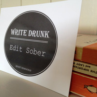 Postcard Ernest Hemingway Quote 'Write Drunk, Edit Sober' Typography Design