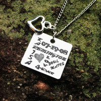 Personalized Couples Info Necklace- Personalized Relationship Necklace - Personalized Engraved Necklace