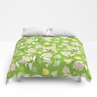 Magnolia Blossom Greenery Comforters by Heather Dutton