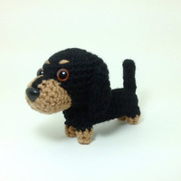 Dachshund Stuffed Animal Crochet Dog Amigurumi Puppy Plush Doll / Made to Order