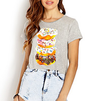 FOREVER 21 Doughnut Frenzy Knit Tee Heather Grey/White