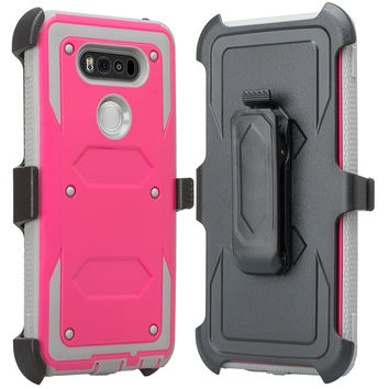 LG V20 Case, Heavy Duty Armor Holster [Built in Screen Protector] Hybrid Combo for LG V20 - Hot Pink