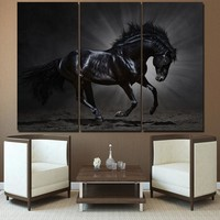 Running galloping black horse wall art canvas 5 pieces panel wall picture print