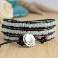 Boho chic jewelry. Pale turquoise blue leather wrap bracelet