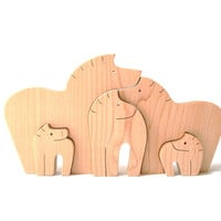 Wood Horse Puzzle Wooden Toy Western Country Farm Animal Puzzle Horse Decoration