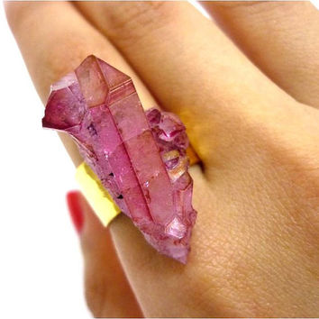 Ruby Rose Aura Quartz RARE Crystal Point Cluster Druzy Ring by AstralEYE