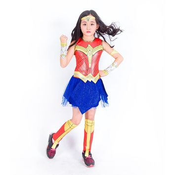 Wonder Woman Cosplay Costumes Girls Fancy Party Dress Justice League Spiderman Cosplay Christmas Halloween Supper Hero Costume