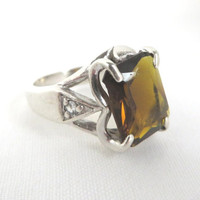 Vintage Emerald Cut Quartz Ring, Sterling Silver Heart Setting w/CZs   - Size 6.5