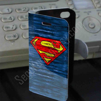 Superman Logo on Wood PVC (syntetic) Leather Folio Case for iPhone and Samsung Galaxy