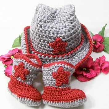 Baby Boy Cowboy Set--Western Hat and Boots -Gift Set-Red and Gray--Baby Shower Gift-PLEASE STATE SIZE NEEDED