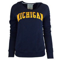 SEARCH League Collegiate Outfitters University of Michigan Ladies Navy Chelsea Crew