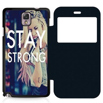 Stay Strong Demi Lovato Leather Wallet Flip Case Samsung Galaxy Note 3
