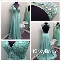 2014 newest backless v-neck beading chiffon elegant formal dress/ evening dress/ prom dress/ Party dress