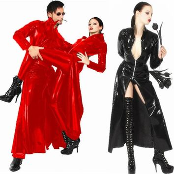 Red Black Sexy Cool Unisex Cloak Coat Halloween Party Trench The Matrix Wet look Leather Trench Exotic Superhero Cosplay Costume