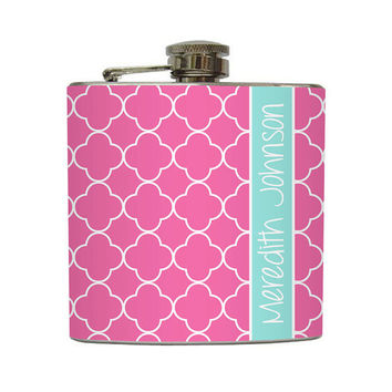 Personalized Flask Custom Name Monogram Moroccan by LiquidCourage