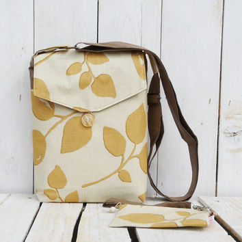 canvas cross body bag and purse shoulderbag mustard and beige adjustable strap