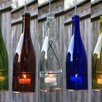 Hanging Wine Bottle Lantern - Hanging Votive - Seasonal Decoration - Outdoor Lighting - Gifts for Women - Gift for Mom - Hurricane Candle