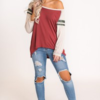 Hopper Varsity Stripe Top (Red Brick)
