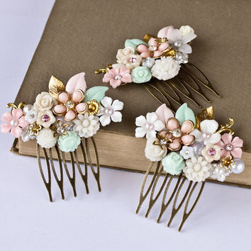Wedding Hair Accessory - 3 Vintage Shabby Chic Head Pieces, Bridesmaids Hair Comb, Bridesmaids Gift Wedding Accessories