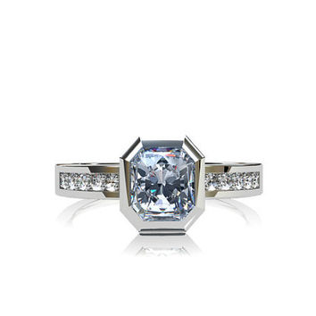 Light blue sapphire ring, Palladium, engagement ring, diamond ring,  bezel, unique, wedding, solitaire, emerald cut, diamond engagement