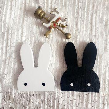 Fashion Nordic Style Wooden Cartoon Rabbit Kids Room Wall Sticker Wall Hanging Hook Home DecorTrendy Gifts
